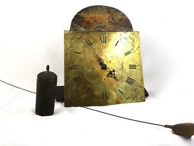 Antique Longcase Clock 30HR Movement Painted Dial Weight & Pendulum Grandfather