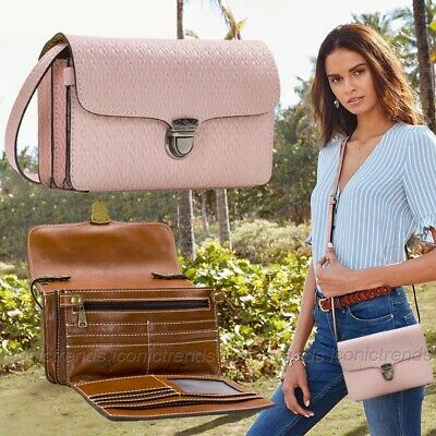 NWT 🌹 Patricia Nash Bianco Leather Crossbody Twisted Woven Embossed - Pink