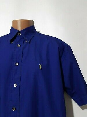 YSL Yves Saint Laurent Blue Casual Button Down Short Sleeve Shirt Mens Size L 16