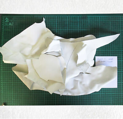 Leather Offcuts 8 pieces white suit patches, small projects 181103-3
