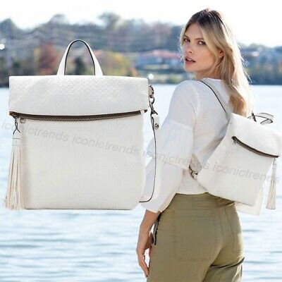 NWT Patricia Nash Twisted Woven Collection Luzille Backpack Crossbody - White