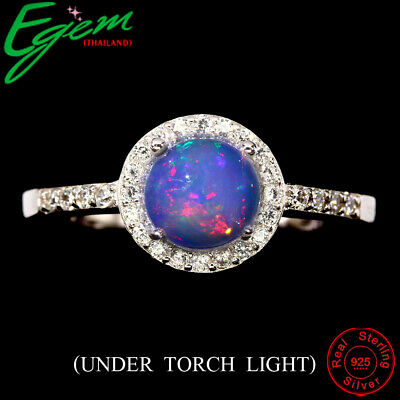 Round Unheated Fire Opal Hot Rainbow 7mm Natural Cz 925 Sterling Silver Ring 9.5