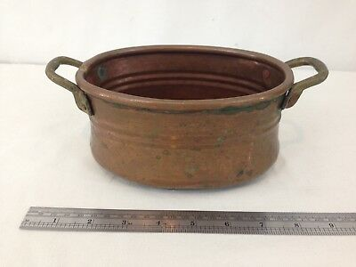 "Vtg Antique Hand Made Double Handle 7"" Distressed Copper Planter Box"