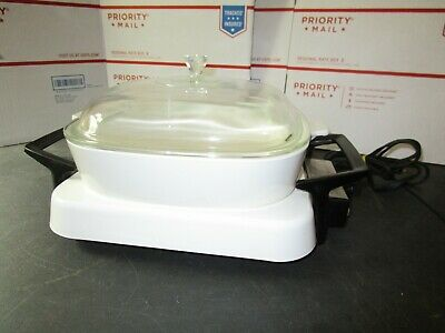 Vintage Corning Ware Electromatic Electric Skillet & White Casserole Dish W/ Lid