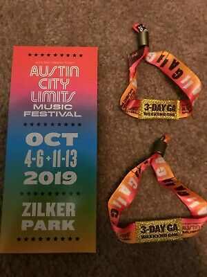 """TWO"" 2019 Austin City Limits Fest Weekend One 3-Day GA Wristbands for OCT 4-6th"