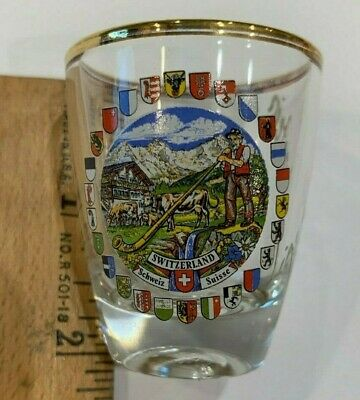 NEW Collectible Travel Shot Glass from Switzerland - Coat of Arms of Cantons