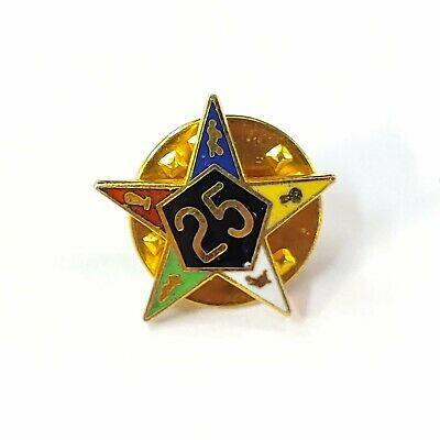 Vintage Order of the Eastern Star 25 Year Pin Lapel Pin Multicolored Five Point
