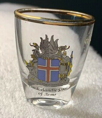 """NEW Collectible Travel Shot Glass from Iceland - Icelandic Coat of Arms - 2"""""""