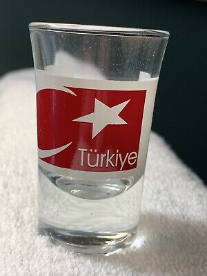 """NEW Collectible Travel Shot Glass from Turkey - Turkish Flag - 3"""" tall"""