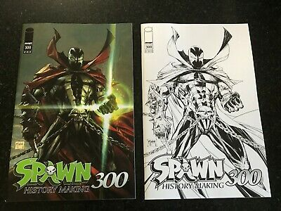 SPAWN #300 2X Regular & Black & White Sketch McFarlane Covers NM Image 1st Print