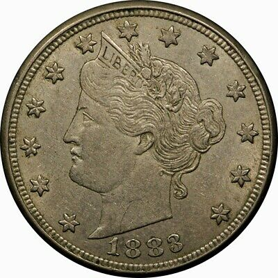 """1883 5c Liberty """"V"""" Nickel WiTH CENTS AU rare old type coin money"""