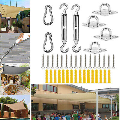 Sun Shade Sail Accessorie Stainless Steel Fixing Fitting Hardware Kit Turnbuckle