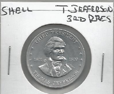 Shell's Coin Game Token Mr. President Thomas Jefferson 3rd 1968