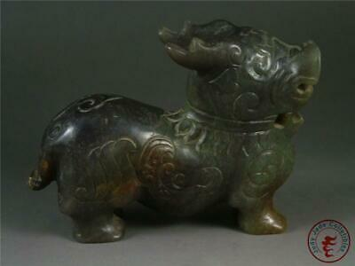 Antique Old Chinese Nephrite Celadon Jade Carved Statue AUSPICIOUS BEAST