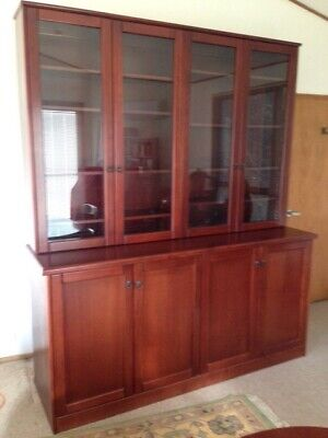 Cedar glass Fronted Bookcase/Display Cabinet with under storage