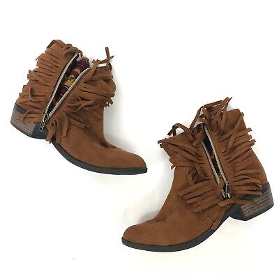Mudd Boots Booties Girls 3 Brown Tan Cognac Faux Suede Fringe Aztec Knit Accent