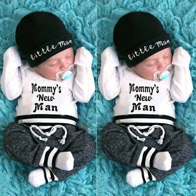 UK 3Pcs Newborn Baby Boys Clothes Cotton Romper Top Pants Legging Autumn Outfit