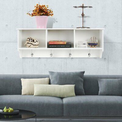 Wall Mounted Hat Coat Rack Wooden With 3 Storage Unit Shelf Hanger Hooks Stand