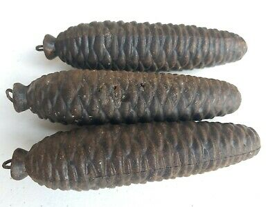 3 - Vintage Cast Iron Cuckoo Clock Pine Cone Weight Counter Weights