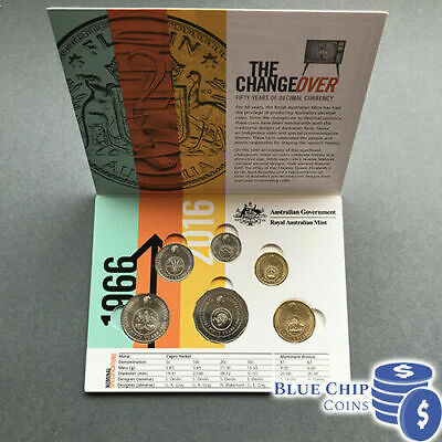 2016 Set 6 Unc Coins - Commemorating 1966 Decimal Currency Changeover