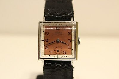 "Art Deco Ww2 Swiss Small Square Men's Mechanical Watch ""Dorex"" 15J/Two Tone Dial"