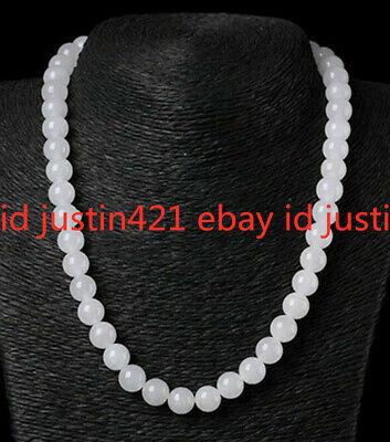 Natural 12mm White Jade Round Gemstone Beads Necklace 18'' AAA