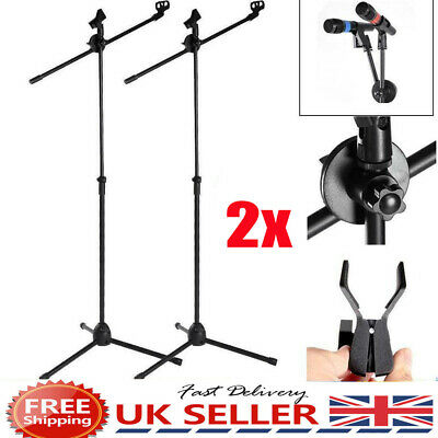 Foldable Adjustable Microphone Boom Mic Stand Holder Studio Mount Tripod Clip FN