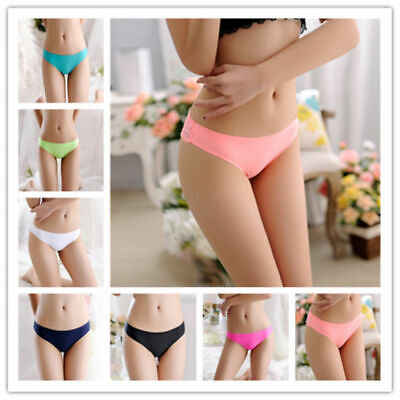Womens Seamless Panties Low Waist Lace Trimmed Briefs G-string Thongs Underwear