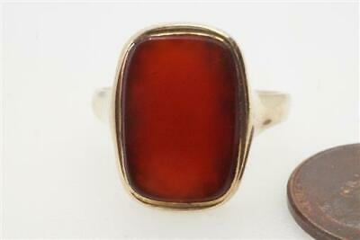 ANTIQUE ART DECO ENGLISH 9K GOLD CARNELIAN AGATE SIGNET RING c1920