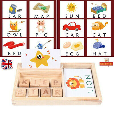Baby 3-in-1 Spelling Learning Game Wooden English Spelling Word Enlightenment UK