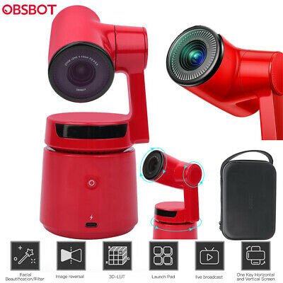 OBSBOT Tail Gesture Control CMOS Zoom 4K 12MP 3-Axis Gimbal Action AI Camera Red