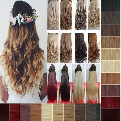 Real Cheap Long Straight Curly Wavy Half Head Clip-In Hair Extensions Copper Red