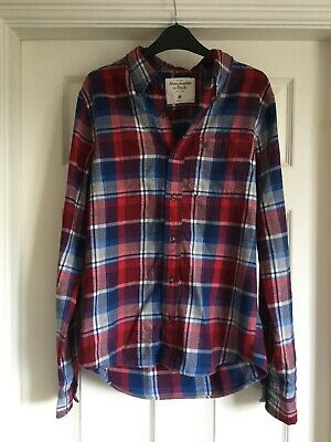 Mens Abercrombie & Fitch Check Flannel Blue / Red Shirt Size M Long Sleeve