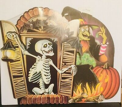 Lot Of 8 Vintage 1983 1989 Beistle Halloween Die Cut Decorations Skeleton Witch