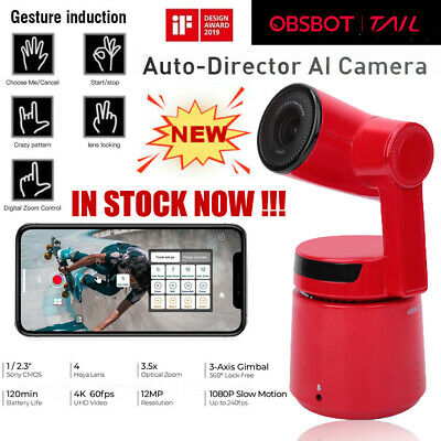 OBSBOT F126S Tail 3-Axis Auto-Director AI Camera Zoom 360º Sport Monitor Camera