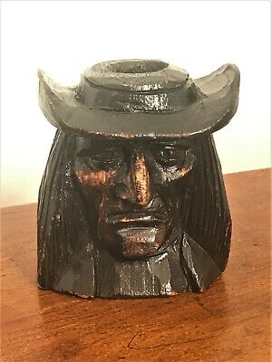 Antique French / German POW Carved Candle Holder - Quaker Interest - George Fox