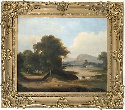 A River Landscape Antique Oil Painting by Edwin Lewis Meadows (1838-1907)