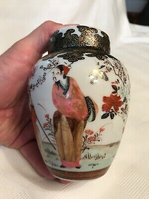Antique Chinese Hand Painted Lidded Ginger Jar Chinese Markings