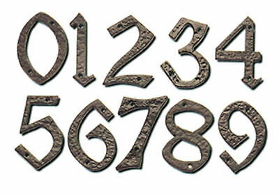 """Back Antique Wrought Iron door House Numbers/ Numerals 2""""/ 54mm High 0-9 +Screws"""