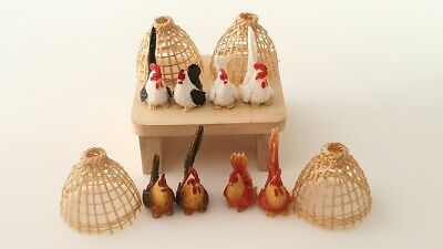 Miniature Animal Clay Tiny Chicken Hen Cock Rooster Round Bamboo Deco Coop Pet