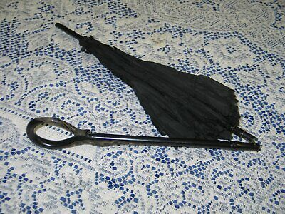 Antique Folding Carriage Parasol~Umbrella Black Silk Curved~Carved Handle
