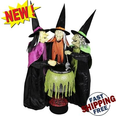 Life Size Cauldron Witches Halloween Decor Props Animated Lighted Sounds Lights