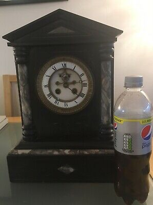 Large French Slate And Marble Mantle Clock