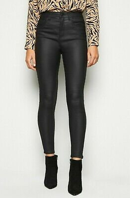 Coated High Waisted Skinny Jeggings Trouser New Look Pvc Faux Leather Pants 4-18