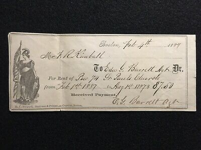 1887  Boston, Massachusetts $87.50 **Scarce** Vignette Receipt!  Notable Person!