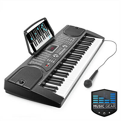 OPEN BOX - 61 Key Electronic Piano Electric Organ Keyboard w/ Microphone - Black