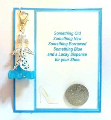 Something Blue Traditional Bridal Lucky Charm Guardian Angel Bride +Sixpence