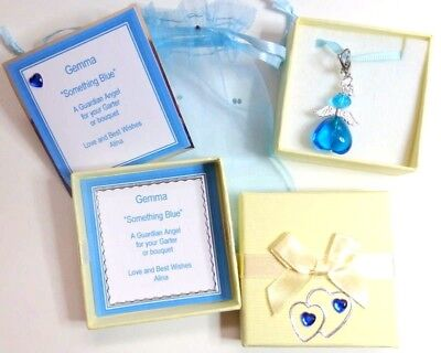 Something Blue Traditional Lucky Bridal Charm Blue Guardian Angel Bride Clip-on