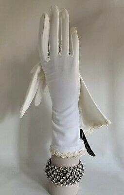 "Cornelia James 1950s Vintage Bri Nylon White Evening  Gloves 12"" Size 7 With Tag"