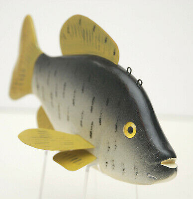 """Vintage - LAWRENCE BETHEL- SUNFISH DECOY - Glass Eyes, Signed & Stamped with""""B"""""""